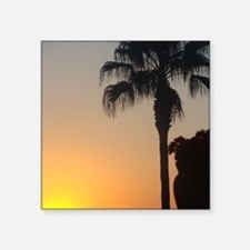 """Sunset with Palm Square Sticker 3"""" x 3"""""""