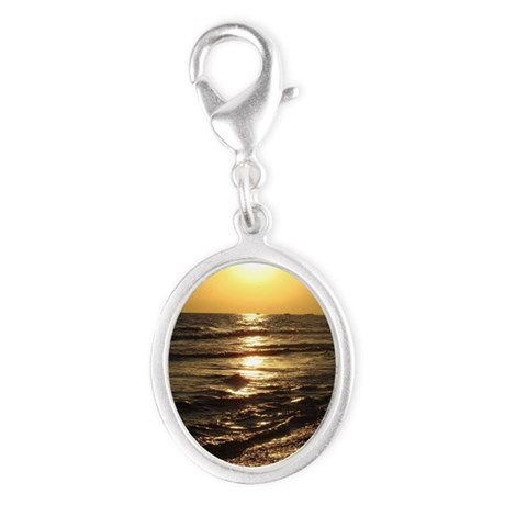 Sunset Silver Oval Charm