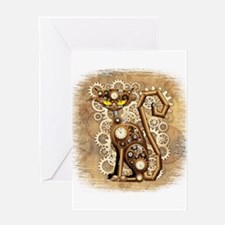 Steampunk Cat Vintage Style Greeting Cards