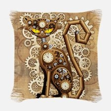 Steampunk Cat Vintage Style Woven Throw Pillow