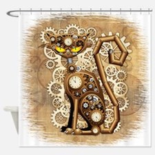 Steampunk Cat Vintage Style Shower Curtain