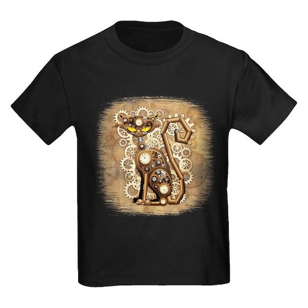 Steampunk Cat Vintage Style Kids Dark T Shirt Steampunk
