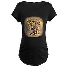 Steampunk Cat Vintage Style Maternity T-Shirt