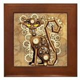 Steampunk cat Framed Tiles
