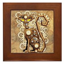 Steampunk Cat Vintage Style Framed Tile