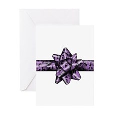 Purple Cat Bow Greeting Card
