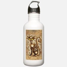 Steampunk Cat Vintage Style Water Bottle