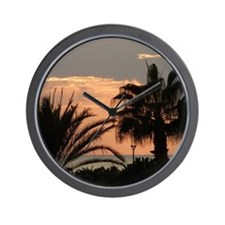 Sunset with Palms Wall Clock