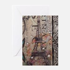 paris eiffel tower butterfly vintage Greeting Card