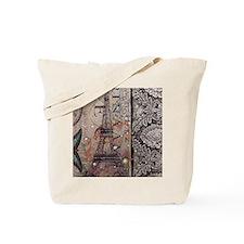 paris eiffel tower butterfly vintage scri Tote Bag
