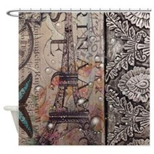 paris eiffel tower butterfly vintag Shower Curtain