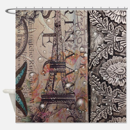 paris eiffel tower butterfly vintag Shower Curtain