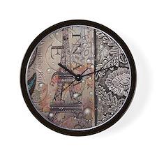 paris eiffel tower butterfly vintage sc Wall Clock