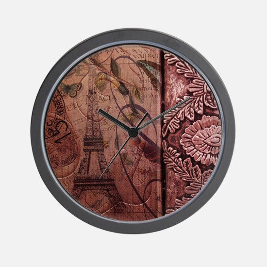 french botanical paris eiffel tower dam Wall Clock