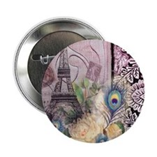 """eiffel tower peacock feather floral p 2.25"""" Button"""