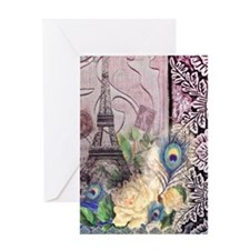 eiffel tower peacock feather floral  Greeting Card