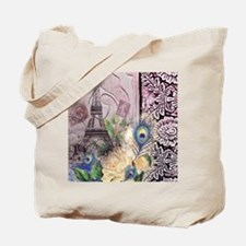 eiffel tower peacock feather floral paris Tote Bag