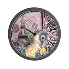 eiffel tower peacock feather floral par Wall Clock