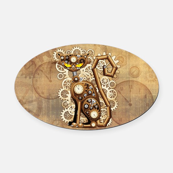 Steampunk Cat Vintage Style Oval Car Magnet