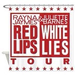 Red Lips White Lies Shower Curtain