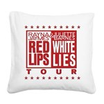 Red Lips White Lies Square Canvas Pillow