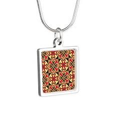 Folk Hearts Silver Square Necklace