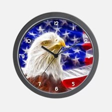 American Eagle and Flag Wall Clock