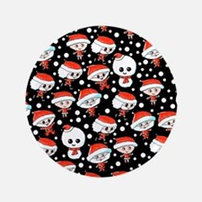 "Christmas Pattern on Black. 3.5"" Button"