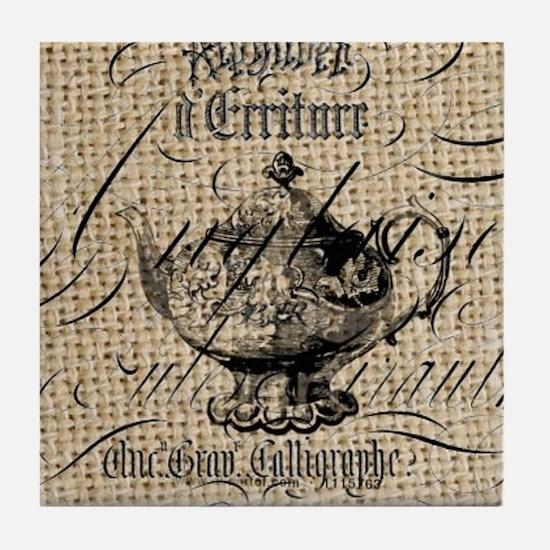 french scripts tea pot vintage burlap Tile Coaster