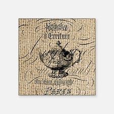 "french scripts tea pot vint Square Sticker 3"" x 3"""