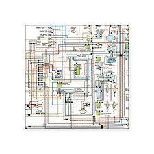 "1972 car wiring Square Sticker 3"" x 3"""