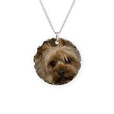 Yorkie Puppy Necklace Circle Charm