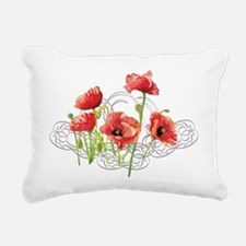 Modern Red Poppy Floral  Rectangular Canvas Pillow