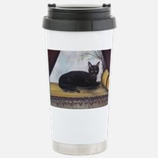 Black Cat by the Window Travel Mug