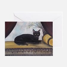 Black Cat by the Window Greeting Card