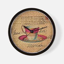 vintage teacup paris scripts  Wall Clock