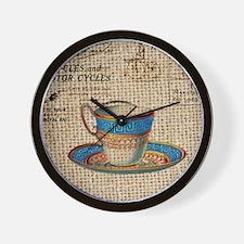 vintage teacup burlap paris scripts Wall Clock
