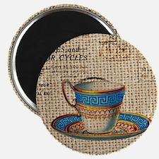 vintage teacup burlap paris scripts Magnet
