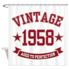 1958 Vintage Aged to Perfection Shower Curtain
