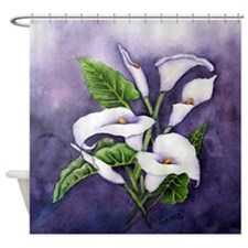 White Canna On Purple Shower Curtain