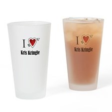 i love Kris Kringle Christmas x-mas Drinking Glass