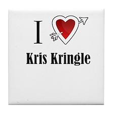 i love Kris Kringle Christmas x-mas Tile Coaster