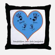 Personalized handprints 4 grandkids Throw Pillow