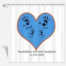 Personalized handprints 4 grandkids Shower Curtain