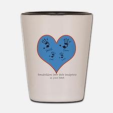 Personalized handprints 4 grandkids Shot Glass