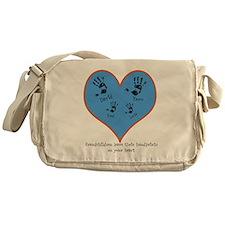 Personalized handprints 4 grandkids Messenger Bag