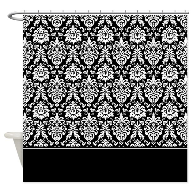 Elegant Bold Black And White Damask Shower Curtain By