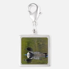 Loon reflection Silver Square Charm
