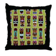 Colorful Tiki Mask Pattern Throw Pillow