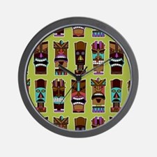 Colorful Tiki Mask Pattern Wall Clock